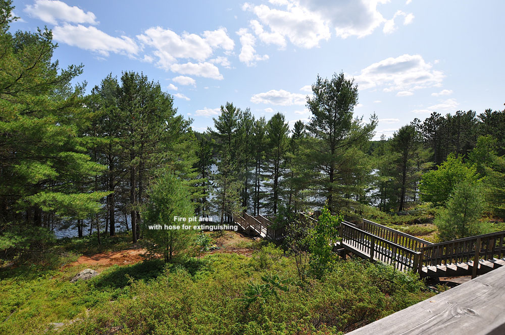 Haliburton Cottage - Koshlong Lake Driftwood Hill - View-to-the-firepit