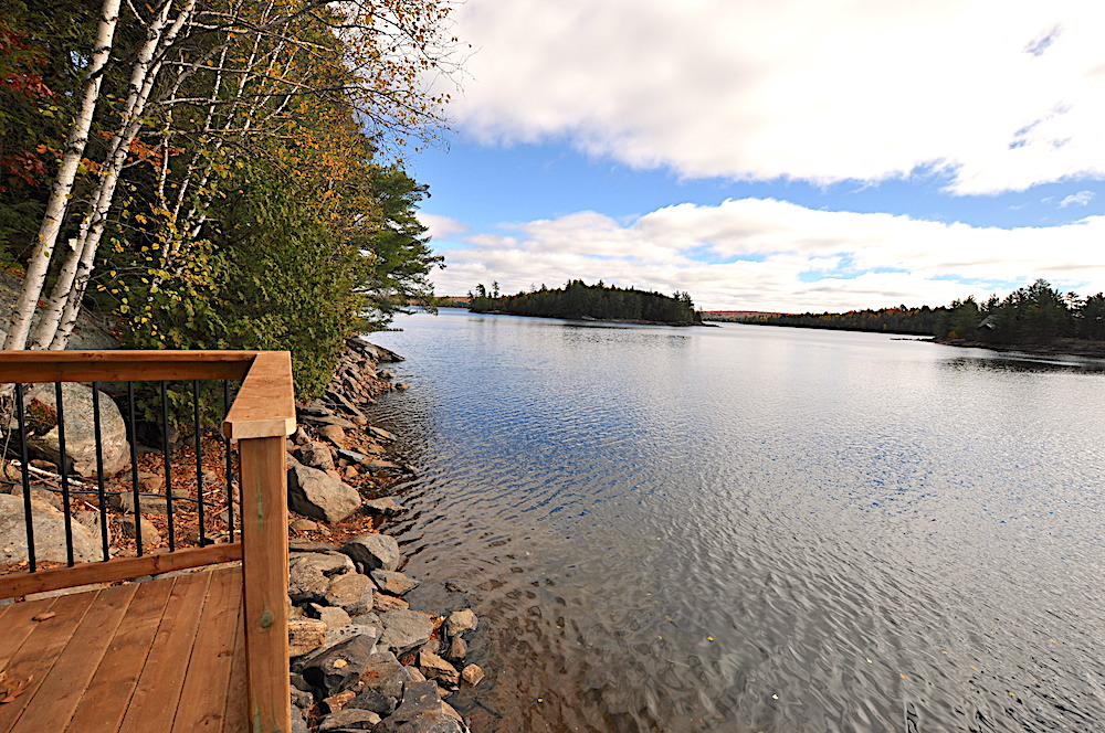 Haliburton Cottage Kennisis Lake Evergreen Terrace - Dock platform to left