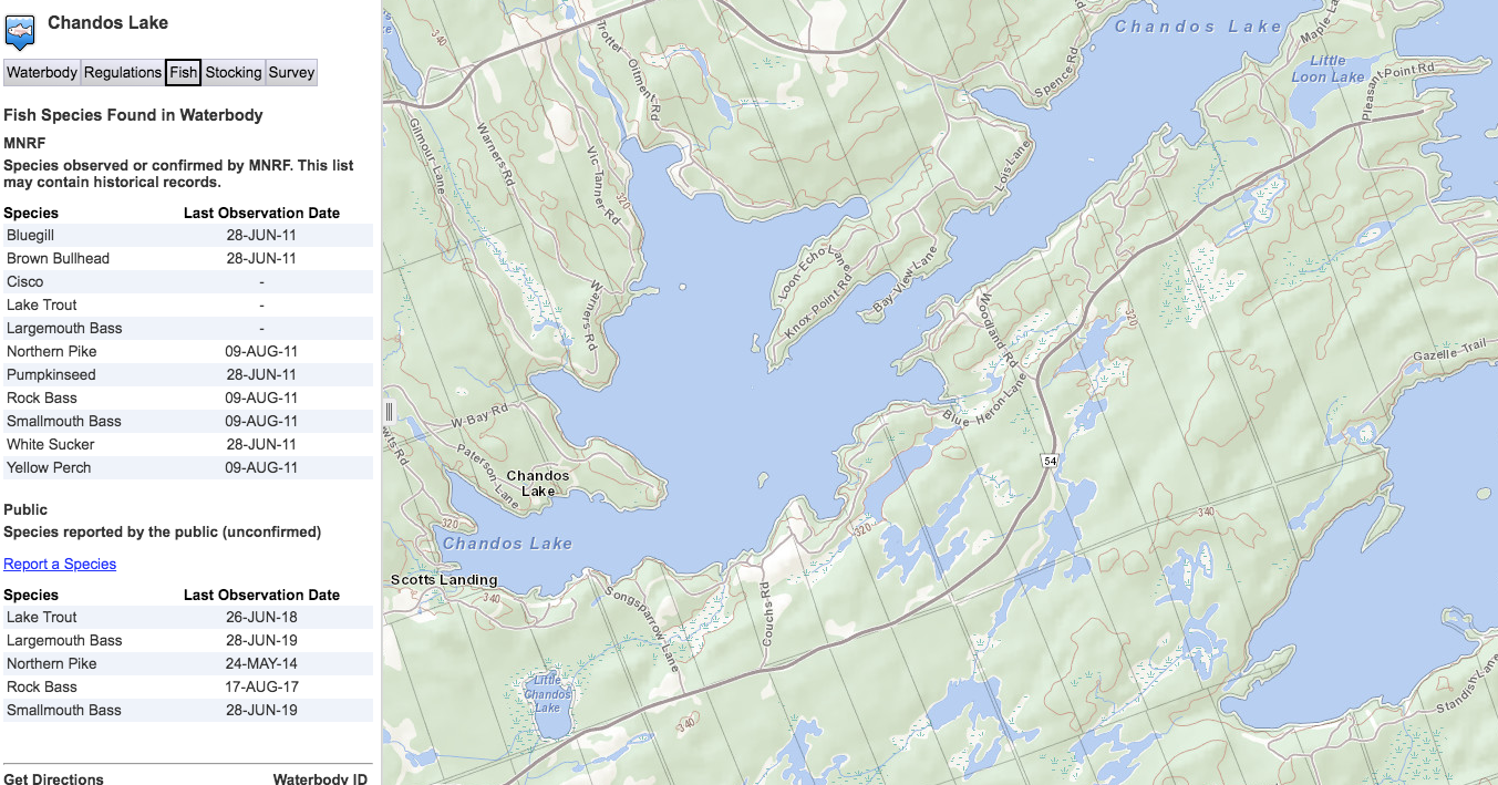 Chandos Lake MNR Fish Map