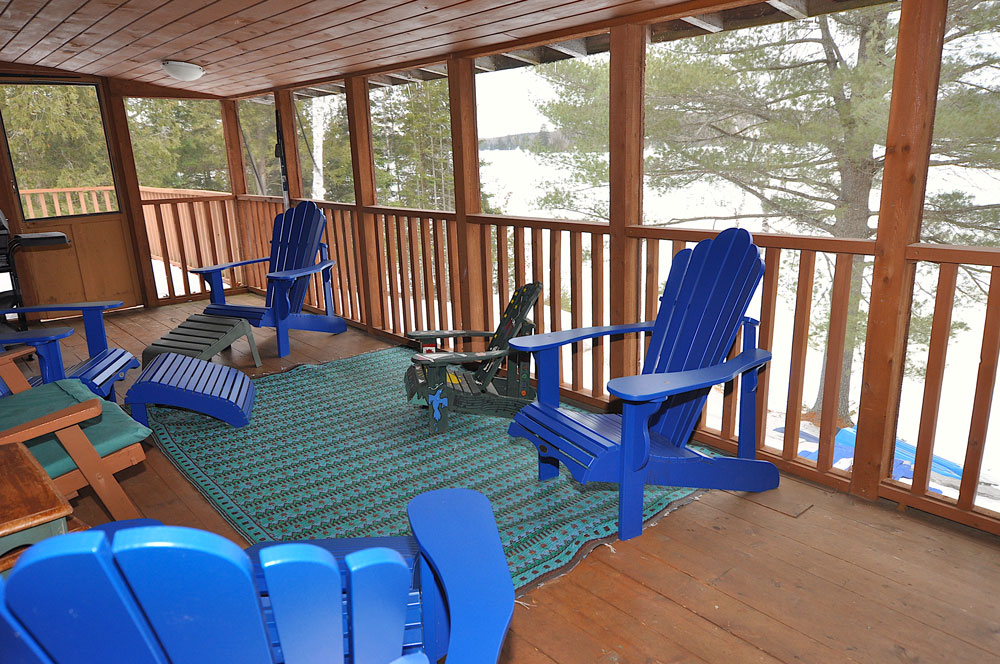 Haliburton Cottage - Gooderham Lake Into The Woods - Screened-in-porch-with-lake-view