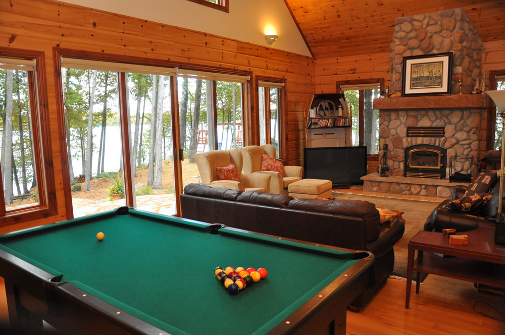 16-Pool Table & Fireplace